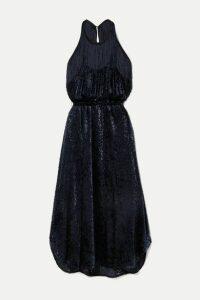 By Malene Birger - Modena Cutout Fringed Devoré-velvet Halterneck Dress - Navy