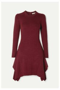 MICHAEL Michael Kors - Asymmetric Ribbed-knit Mini Dress - Claret