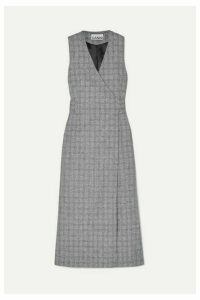 GANNI - Prince Of Wales Checked Twill Wrap Dress - Gray