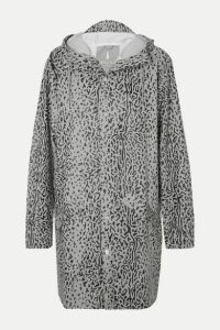 Rains - Hooded Leopard-print Matte-pu Raincoat - Gray