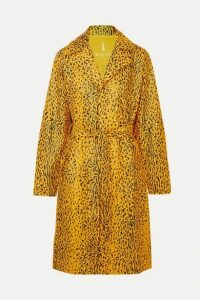 Rains - Belted Leopard-print Matte-pu Trench Coat - Yellow