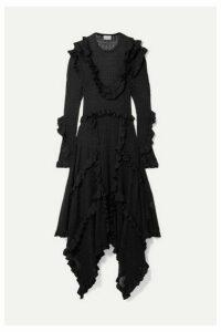 By Malene Birger - Erna Asymmetric Ruffled Pointelle-knit Lurex Maxi Dress - Black