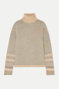 Loro Piana - Fair Isle Cashmere Turtleneck Sweater - Light gray