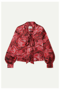 GANNI - Pussy-bow Printed Silk-blend Satin Blouse - Red