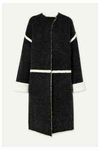 By Malene Birger - Iseline Reversible Oversized Striped Knitted Coat - Dark gray