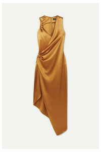 Cushnie - Draped Asymmetric Silk-charmeuse Midi Dress - Gold
