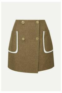 Fendi - Leather-trimmed Wool And Silk-blend Mini Skirt - Beige