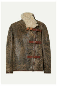 Isabel Marant - Abelina Leather-trimmed Painted Shearling Jacket - Brown