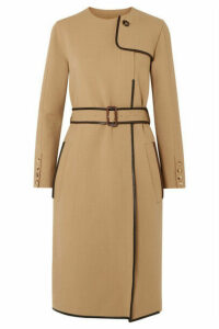 Burberry - Belted Leather-trimmed Cady Midi Dress - Beige