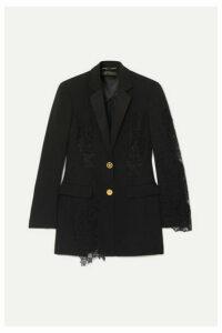 Versace - Lace-paneled Crepe Blazer - Black