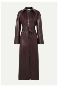 Nanushka - Rosana Belted Vegan Leather Dress - Merlot