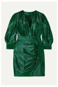 Maje - Rexy Ruffled Lamé Mini Dress - Green