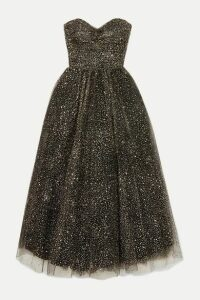 Monique Lhuillier - Brie Strapless Ruched Glittered Tulle Gown - Black