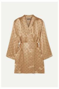 ALEXACHUNG - Floral-jacquard Wrap Mini Dress - Gold