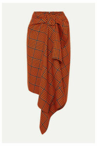 House of Holland - Knotted Asymmetric Prince Of Wales Checked Wool-blend Midi Skirt - Orange