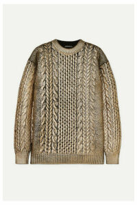 Ann Demeulemeester - Metallic Cable-knit Wool Sweater - Gold