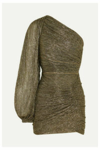 Peter Pilotto - One-sleeve Plissé-jersey Mini Dress - Gold