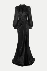 Ong-Oaj Pairam - Portia Gathered Silk-satin Gown - Black