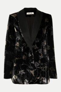 Diane von Furstenberg - Tommy Satin-trimmed Metallic Floral-print Velvet Blazer - Black