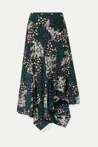 Veronica Beard - Mac Asymmetric Animal-print Stretch-silk Crepe De Chine Midi Skirt - Blue