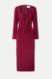 Rebecca de Ravenel - Zaza Tie-detailed Printed Silk Crepe De Chine Midi Dress - Burgundy