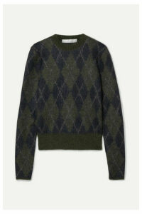 Victoria Beckham - Argyle Mohair-blend Sweater - Midnight blue