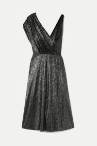 Alice + Olivia - Roxy Wrap-effect Draped Lurex Dress - Black