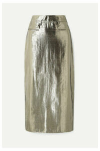 REJINA PYO - Mina Ruched Lamé Midi Skirt - Silver
