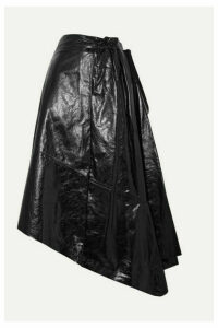 Proenza Schouler - Asymmetric Glossed-leather Midi Skirt - Black