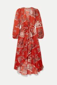 Johanna Ortiz - Cuando El Rio Suena Printed Cotton-voile Wrap Dress - Tomato red