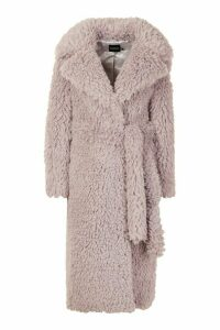 Womens Curly Faux Fur Belted Longline Coat - purple - 16, Purple