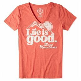 Life is Good - Ladies Cool Mountain T-Shirt Chilli Red