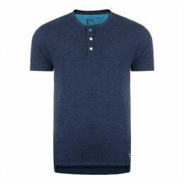 Button Up T-Shirt Peacoat Blue Marl