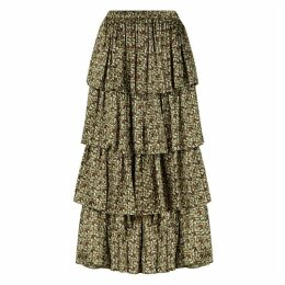 PHOEBE GRACE - Charlie Frill Tiered Midaxi Skirt in Basket Weave Print