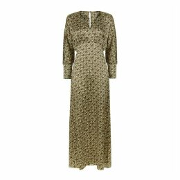 PHOEBE GRACE - Sally V Neck Large Cuff Midaxi Dress in Basket Weave Print