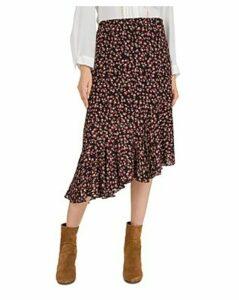 Gerard Darel Asymmetric Floral-Print Midi Skirt