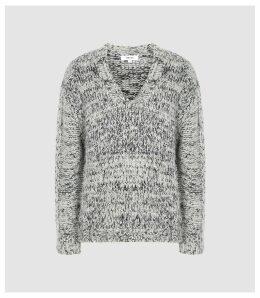 Reiss Flo - Textured V-neck Jumper in Grey, Womens, Size XXL