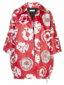 Area printed leather jacket - Red