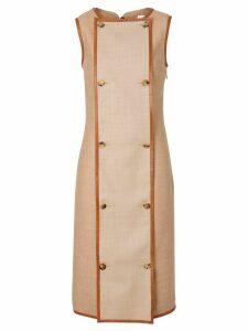 Burberry Button Panel Detail Wool Blend Shift Dress - Neutrals