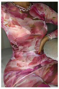 Pink Floral Mesh Long Sleeve Top - 16 / PINK