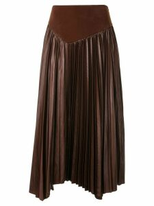 Muller Of Yoshiokubo asymmetric pleated skirt - Brown