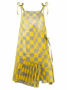 Off-White checked asymmetric dress - Yellow