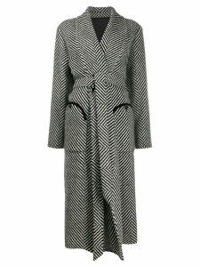Blazé Milano oversized striped belted coat - Black