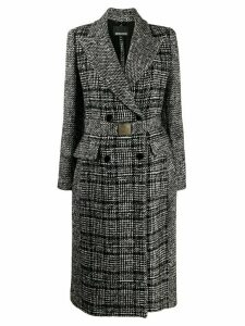 Ermanno Ermanno belted check print coat - Black