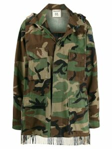 Semicouture scarf-panelled camouflage parka - Brown