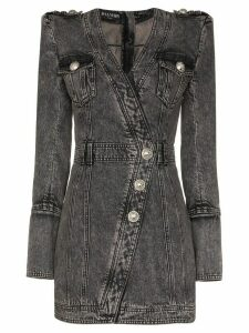 Balmain wrap style button-up denim dress - Black