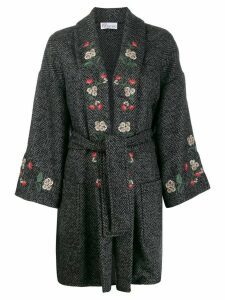Red Valentino floral-embroidered coat coat - Grey