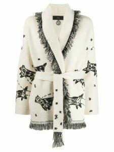 Alanui embroidered cardi coat - NEUTRALS