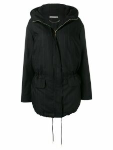 Stella McCartney striped parka coat - Black