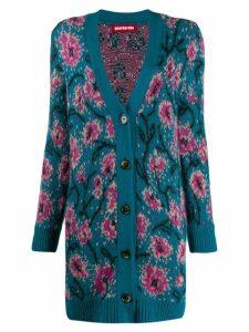 Guardaroba long floral intarsia cardigan - Blue